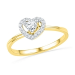 10kt Gold Round Diamond Heart Love Promise Bridal Ring 1/4 Cttw