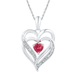 Sterling Silver Round Lab-Created Ruby & Diamond Heart Love Pendant .01 Cttw