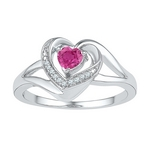 Sterling Silver Round Lab-Created Pink Sapphire Diamond Heart Ring 3/8 Cttw