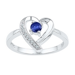 Sterling Silver Round Lab-Created Blue Sapphire Diamond Heart Ring 1/4 Cttw