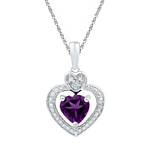 10kt White Gold  Heart Lab-Created Amethyst Heart & Diamond Pendant 3/4 Cttw
