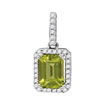 14kt White Gold Emerald Peridot Solitaire Diamond Rectangle Frame Pendant 1-1/8 Cttw