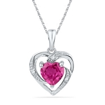 10kt Gold Round Lab-Created Pink Sapphire Heart Pendant 1-1/8 Cttw