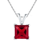 Sterling Silver  Princess Lab-Created Ruby Solitaire Pendant 1-1/3 Cttw