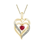 Yellow-tone Sterling Silver Round Lab-Created Ruby Heart Love Pendant .01 Cttw