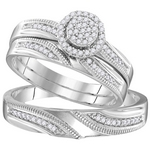 Sterling Silver Round Diamond Cluster Matching Bridal Wedding Ring Band Set 1/4 Cttw