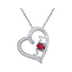 10kt Gold Lab-created Ruby & Diamond Heart Mom Mother Love Pendant 5/8 Cttw
