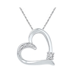 Sterling Silver Round Diamond Solitaire Heart Love Pendant .03 Cttw