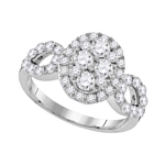 10kt White Gold Round Diamond Oval Frame Cluster Ring 1-3/4 Cttw