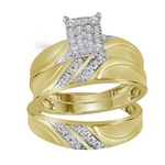 10k Yellow Gold Diamond Cluster Matching Trio  Wedding Ring Band Set 1/3 Cttw