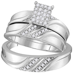 10kt White Gold Diamond Cluster Matching Trio  Wedding Engagement Ring Band Set 1/3 Cttw