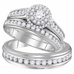 10kt White Gold Round Diamond Solitaire Matching Bridal Wedding Ring Band Set 1-5/8 Cttw