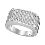 10kt White Gold Round Diamond Rectangle Flat Cluster Ring 1/2 Cttw