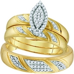 10k Yellow Gold Diamond  Matching Trio Wedding Engagement Bridal Ring Set 1/4 Cttw