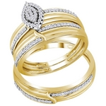 10k Yellow Gold Diamond  Matching Trio Wedding Engagement Bridal Ring Set 1/3 Cttw