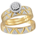 10k Yellow Gold Diamond Cluster  Matching Trio Wedding Engagement Ring Band Set 1/3 Cttw