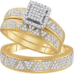 10kt Gold Round Diamond Square Cluster Matching Bridal Wedding Ring Band Set 1/2 Cttw