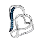 Sterling Silver Round Blue Color Enhanced Diamond Heart Love Pendant 1/20 Cttw