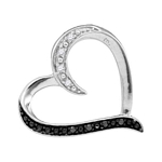 Sterling Silver Round Black Color Enhanced Diamond Simple Heart Pendant 1/20 Cttw
