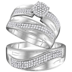 10kt Gold Round Diamond Cluster Matching Bridal Wedding Ring Band Set 1/2 Cttw
