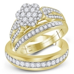 10kt Yellow Gold Round Diamond Cluster Matching Bridal Wedding Ring Band Set 1-1/3 Cttw