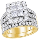 14kt  Gold Princess Diamond Cluster Bridal Wedding Engagement Ring 3.00 Cttw