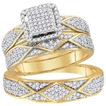 10kt Yellow Gold Round Diamond Cluster Matching Bridal Wedding Ring Band Set 3/4 Cttw