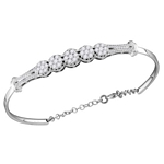 10kt White Gold Round Diamond Cluster Promise Bangle Bracelet 1.00 Cttw