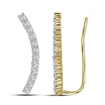 10kt Yellow Gold Round Diamond Climber Earrings 3/4 Cttw