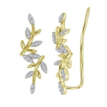10kt Yellow Gold Round Diamond Floral Climber Earrings 1/5 Cttw