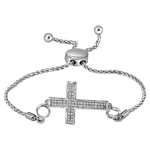 Sterling Silver Round Diamond Cross Religious Bolo Bracelet 1/20 Cttw