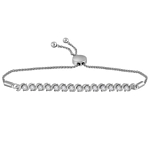 10kt White Gold Round Pave-set Diamond Single Row Bolo Bracelet 1/2 Cttw