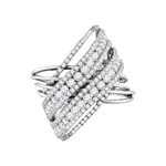 14kt Gold Round Diamond Crossover Open Strand Cocktail Ring 2-1/2 Cttw