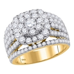 14kt Gold Round Diamond Cluster Bridal Wedding Engagement Ring 3.00 Cttw