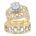 14kt Yellow Gold Round Diamond Cluster Matching Bridal Wedding Ring Band Set 1-3/8 Cttw