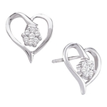 10kt White Gold Round Diamond Cluster Heart Screwback Earrings 1/6 Cttw