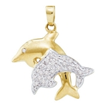 10kt Gold Round Diamond Double Dolphin Fish Animal Pendant 1/8 Cttw