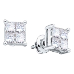 14kt White  Gold Princess Diamond Square Cluster Stud Earrings 1.00 Cttw