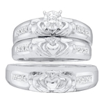10kt White Gold Round Diamond Claddagh Matching Bridal Wedding Ring Band Set 1/8 Cttw
