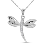 14kt White Gold Round Diamond Butterfly Bug Winged Pendant .03 Cttw