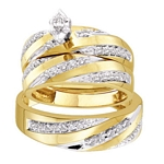 10kt Yellow Gold Marquise Diamond Solitaire Matching Bridal Wedding Ring Band Set 3/4 Cttw