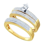 10kt Yellow Gold Marquise Diamond Solitaire Matching Bridal Wedding Ring Band Set 1/2 Cttw