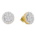 14kt Yellow Gold Round Diamond Flower Cluster Screwback Earrings 2.00 Cttw
