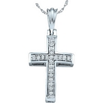 10kt White Gold Round Diamond Cross Religious Pendant 1/12 Cttw