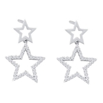 10kt White Gold Round Diamond Double Star Dangle Screwback Earrings 1/4 Cttw