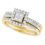 14kt  Gold Princess Diamond 3-Piece Halo Bridal Wedding Engagement Ring Band Set 1/2 Cttw