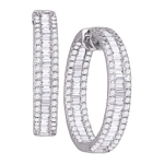 14kt White Gold Baguette Round Diamond Inside Outside Hoop Earrings 3-1/2 Cttw