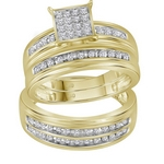 10kt Yellow Gold Round Diamond Square Cluster Matching Bridal Wedding Ring Band Set 1/2 Cttw