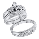 10kt White Gold Marquise Diamond Solitaire Matching Bridal Wedding Ring Band Set 1/4 Cttw