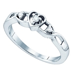 Sterling Silver Round Diamond 3-Stone Heart Promise Bridal Ring 1/10 Cttw